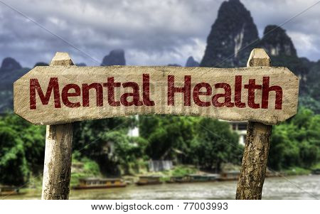 Mental Health sign with a exotic landscape on background