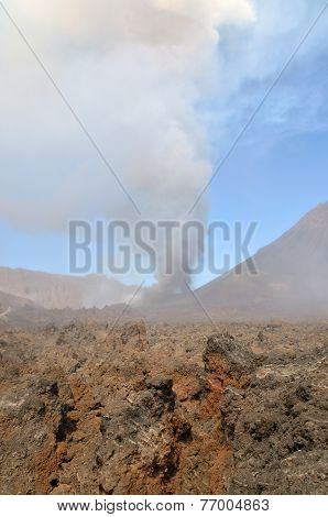 Volcano Shoots Ashes Into Sky