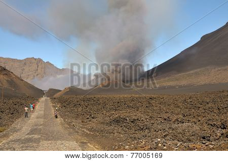Bystanders Observe The Eruption From A Distance