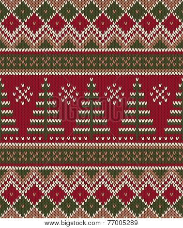 Christmas Sweater Design. Seamless Knitting Pattern. Winter Holiday Background