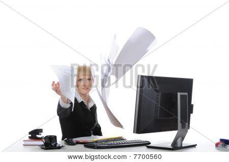 Businesswoman Throws Documents