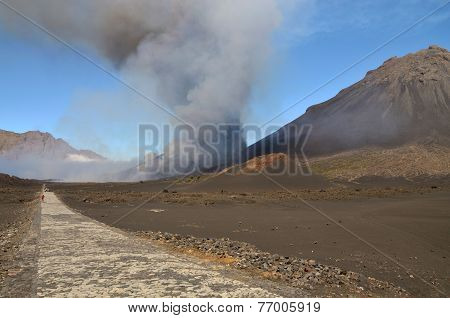 People Leaving The E Eruption Site