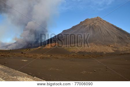 Pico Do Fogo Erupting At Base