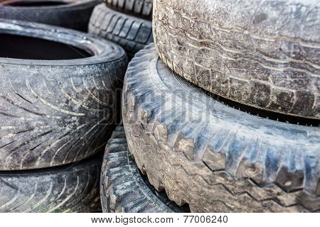 Stack Of The Old Used Tires