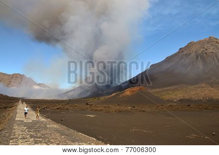 Residents Evacuate As The Volcano Erupts In Fogo