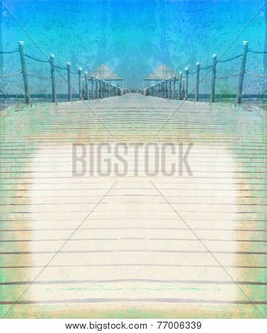 Perspective View Of Wooden Pier - Vintage Frame