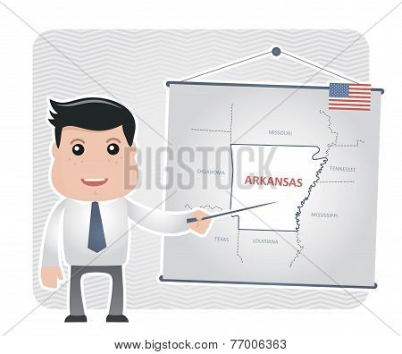 Man with a pointer points to a map of ARKANSAS