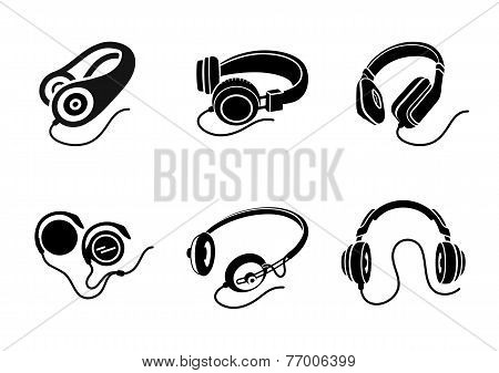Headphones icon set in black on white background