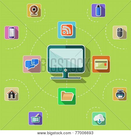 Flat design set with web, computer, mobile icons