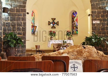 TABGHA, ISRAEL - JANUARY 2012: The Church of the Primacy - Tabgha. Jesus then fed with bread and fish hungry people. The Holy Church was built on the Sea Gennesaret
