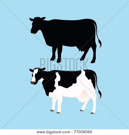 Cow Silhouettes and Color Cow