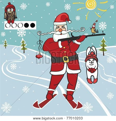 Santa biathlete shoots.Humorous illustrations