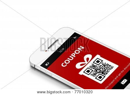 Mobile Phone With Christmas Coupon Over White