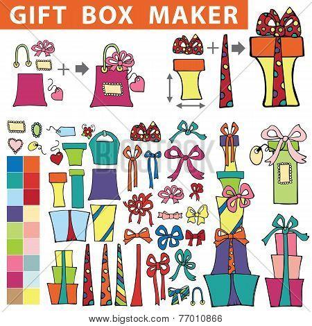 Gift box maker.Flat Doodle set