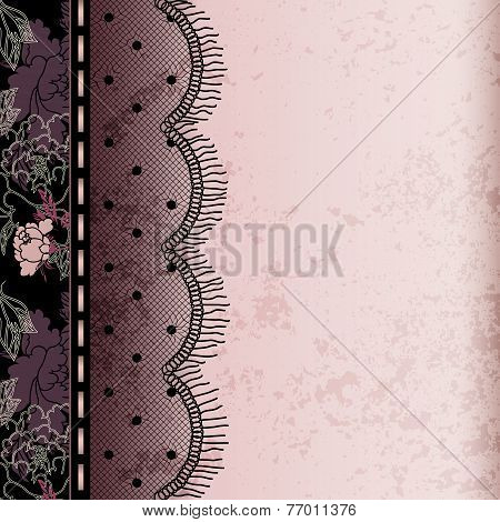 Pink background with black lace fringe
