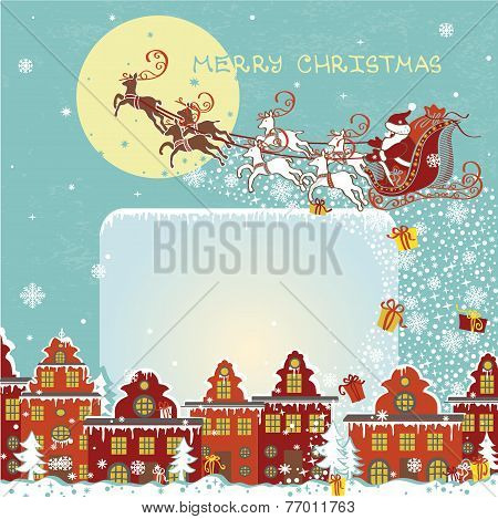 Christmas greeting card.Santa Claus coming to City.Vector