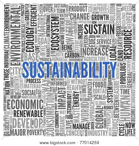 Close up Blue SUSTAINABILITY Text at the Center of Word Tag Cloud on White Background.