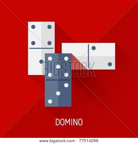 Game illustration with domino in flat design style.