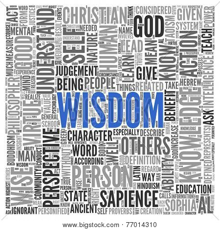 Blue Wisdom Text with Other Related Words in Gray in Word Tag Cloud Design on White Background.
