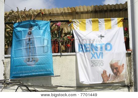 Balcone Decorated For Pope Benedict XVI