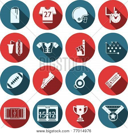 Flat vector icons for American football