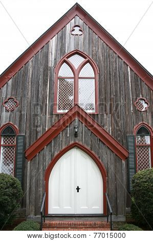 White church door red trim