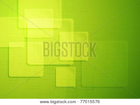 Abstract green hi-tech vector background with squares