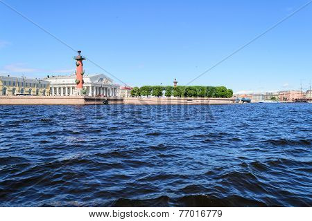 View of the spit of Vasilievsky island and rostralnie columns
