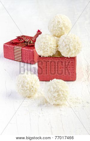 Coconut Snowball Truffles in Gift Box