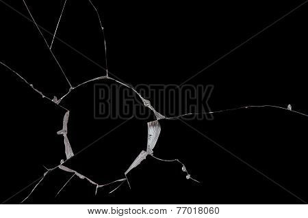 Broken Windshield Glass On A Black Background