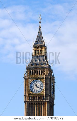 Big Ben In Westminster, London Isolated On Sky