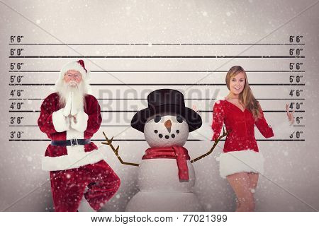 Father Christmas doing some yoga against mug shot background
