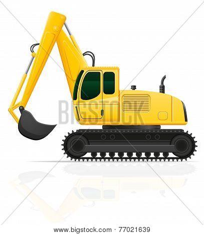 Excavator For Road Works Vector Illustration