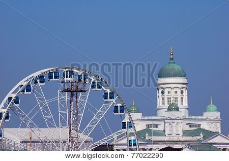 Ferris Wheel In Port Of Helsinki