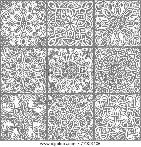 Seamless pattern gray mosaic in vintage style, hand-drawn illustration.