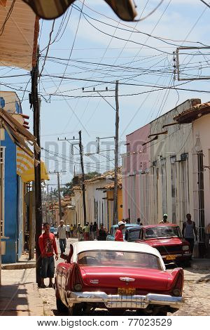 Old Vintage Car In The Street Of Trinidad