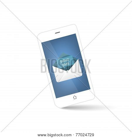 White smart phone with envelope for send sms