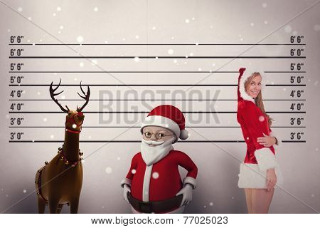 Festive blonde smiling at camera against mug shot background