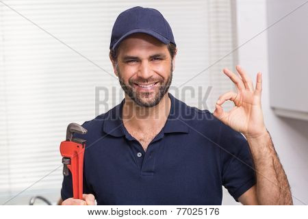 Casual plumber smiling at camera in the kitchen