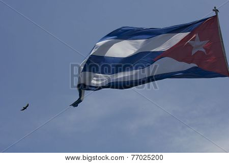 The Cuba Flad Waving In The Blue-sky