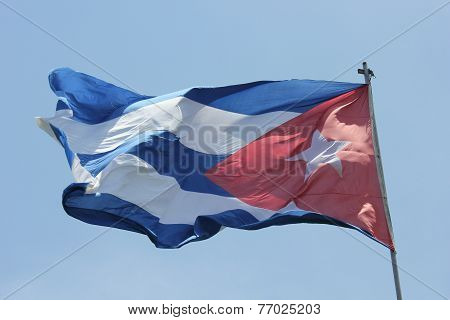 The Cuba Flag Waving In The Blue-sky