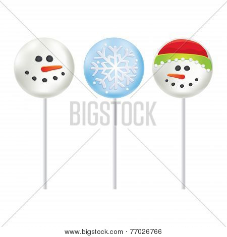 Marshmallow on a stick Snowman and Snowflake.