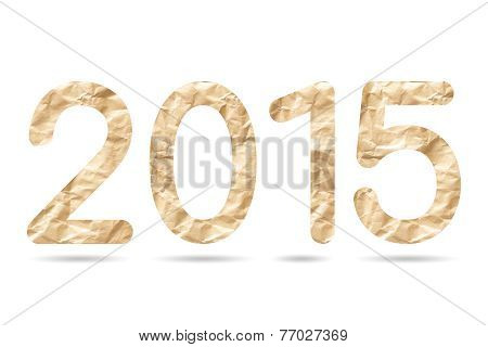 2015 Numeric From Crumpled Brown Envelope Paper Texture