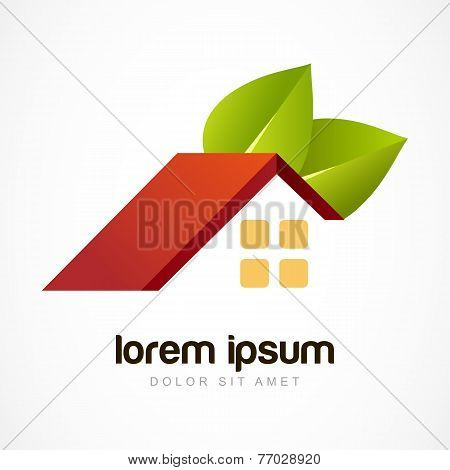 Vector Logo Design Template. Red House Roof With Green Leaves. Design Concept For Real Estate Agenci