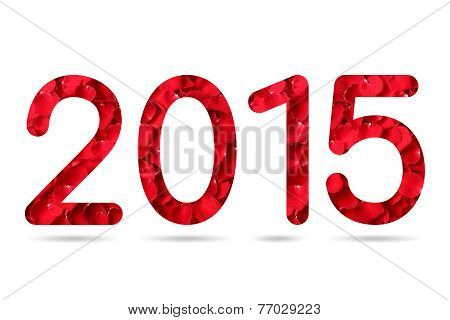 2015 Numeric From Red Rose Petal Background