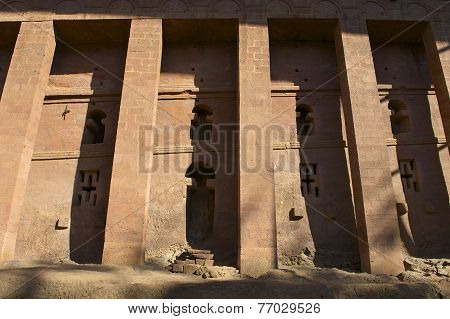 Columns of the rock-hewn church in Lalibela Ethiopia. UNESCO World heritage site