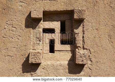 Window of the rock-hewn church Lalibela Ethiopia. UNESCO World Heritage site.