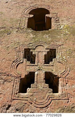 Window of the rock-hewn church Lalibela Ethiopia. UNESCO World Heritage site.