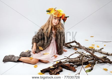 Teenage Girl Posing In Studio