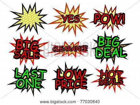 Comics icons starburst advertisements